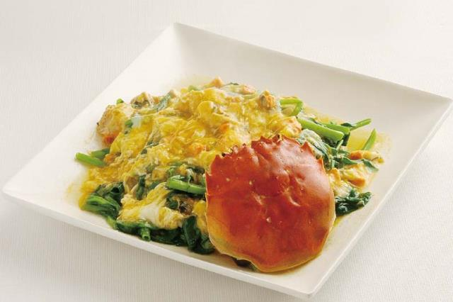 上海蟹黄?時菜 季節野菜の上海蟹味噌あんかけ ¥1,500(税込1,575)